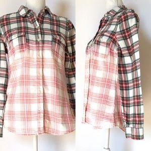 Old navy plaid shirt, custom bleach, Sz small